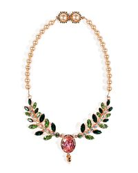 Mawi | Multicolor Rose Goldplated Pearlized Necklace with Ornate Leaf | Lyst