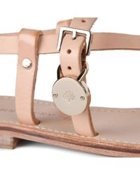Mulberry - Natural Bayswater Flat Sandals - Lyst
