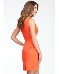 Bebe - Orange Empire Waist Vneck Peplum Dress - Lyst