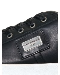 Dolce & Gabbana | Black Uk Logo Perforated Leather Sneakers for Men | Lyst