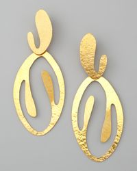 Herve Van Der Straeten - Metallic Coral Cutout Drop Clip Earrings - Lyst