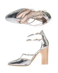 Chloé - Metallic Leather Block Heel Shoes - Lyst