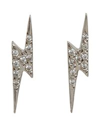 Ileana Makri | Metallic White Diamond Little Thunder Studs Size Os | Lyst