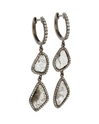 Monique Pean Atelier - White Double Diamond Slice Hoop Earrings - Lyst