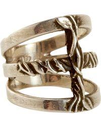 Pamela Love - Metallic Silver Vine Cross Ring - Lyst