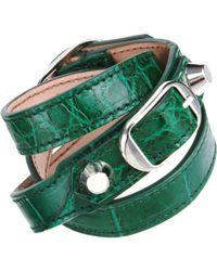 Balenciaga - Green Croco Double Tour Bracelet - Lyst