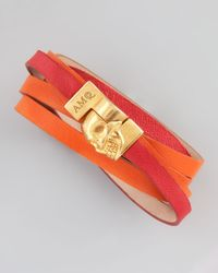 Alexander McQueen - Pink Two Tone Leather Wrap Bracelet - Lyst