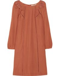 Vanessa Bruno Athé - Orange Lace Trimmed Silk Dress - Lyst