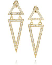 Halleh - Metallic 18karat Gold and Diamond Triangle Earrings - Lyst