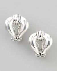 Lagos | Metallic Derby Silver Fluted Loop Earrings | Lyst