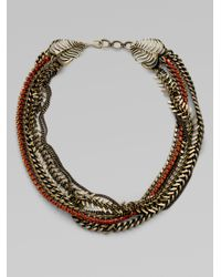 ABS By Allen Schwartz | Metallic Stone Accented Multirow Necklace | Lyst