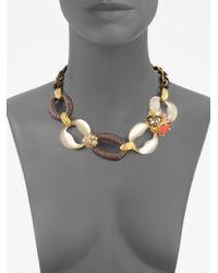 Alexis Bittar | Multicolor Ivory Coast Rose Quartz Coral Clustered Gem Link Necklace | Lyst