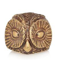 Burberry   Metallic Burnished Goldtone Owl Ring   Lyst