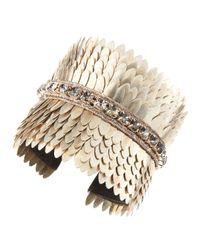 Deepa Gurnani - Metallic Silver Scalloped Cuff - Lyst