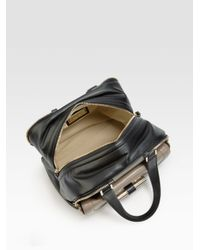 Jimmy Choo - Black Justine Small Bi-Color Leather Top Handle Bag - Lyst