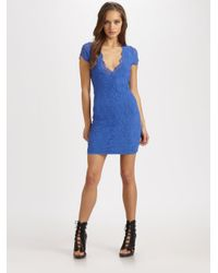 Nightcap | Blue Victorian Semi-sheer Lace V-neck Dress | Lyst