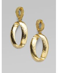 Oscar de la Renta | Metallic Oval Drop Earrings | Lyst