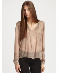 Parker | Brown Beaded Silk Blouse | Lyst