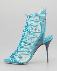 Sophia Webster | Blue Lacey Metallic Multistrap Tassel Sandal | Lyst