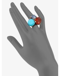Stephen Dweck | Blue Topaz, Turquoise and Orange Chalcedony Ring | Lyst