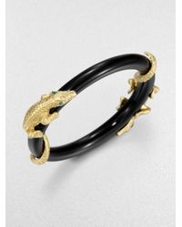 ABS By Allen Schwartz | Metallic Golden Island Alligator Bangle Bracelet | Lyst