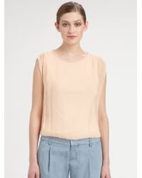 80f9c72adf32ee Lyst - Alice + Olivia Gathered Shoulder Silk Top in Pink