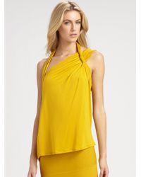 BCBGMAXAZRIA   Yellow Roslyn Abstract Halter Top   Lyst