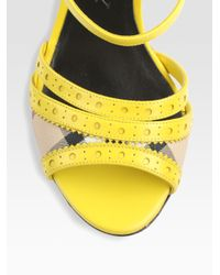 Burberry - Yellow Leather Slingback Espadrille Wedge Sandals - Lyst