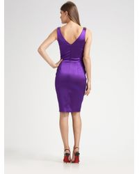 David Meister - Purple Jeweledshoulder Stretch Satin Dress - Lyst