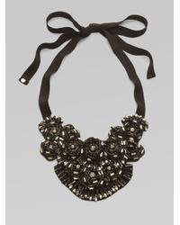 Elie Tahari | Black Beaded Medallion Bib Necklace | Lyst