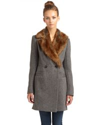 French Connection - Gray Anderson Fur Collar Coat - Lyst