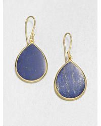 Ippolita | Blue Polished Rock Candy Lapis & 18k Yellow Gold Mini Teardrop Earrings | Lyst