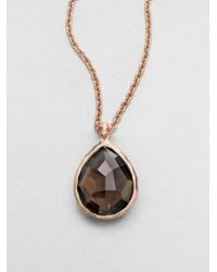 Ippolita - Pink Rose Rock Candy Smoky Quartz Medium Teardrop Pendant Necklace - Lyst
