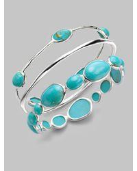 Ippolita - Blue Turquoise Cabochon Sterling Silver Bangle Bracelet - Lyst