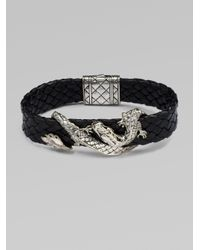John Hardy | Black Silver Dragon Leather Braceletbrown for Men | Lyst