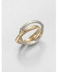 John Hardy - Metallic Bamboo 18K Yellow Gold & Sterling Silver Interlocked Band Ring - Lyst