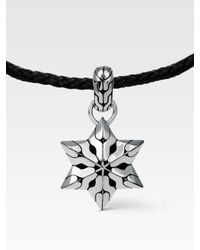 John Hardy | Black Silver Star Pendant Necklace for Men | Lyst