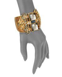 Judith Leiber | Metallic Deco Crystal Filigree Cuff | Lyst