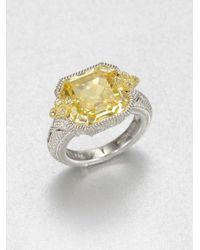Judith Ripka | Yellow Crystal Sterling Silver Ring | Lyst