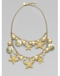 kate spade new york | Metallic Shell Bead and Faux Pearl Bib Necklace | Lyst
