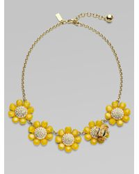 kate spade new york - Metallic Flower Bee Necklace - Lyst