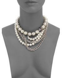 Kenneth Jay Lane - Metallic Faux Pearl and Chain Necklace - Lyst