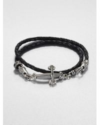 King Baby Studio | Black Cross Double-wrap Leather Bracelet for Men | Lyst