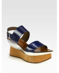 6cf4e19c5b0 Lyst - Marni Leather Wooden Platform Wedge Sandals in Blue