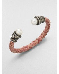 M.c.l  Matthew Campbell Laurenza - Brown White Topaz Freshwater Pearl and Leather Bracelet - Lyst