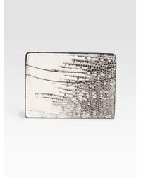 Saks Fifth Avenue | Brown Lizard Credit Card Case for Men | Lyst