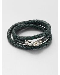 Scott Kay - Green Braided Leather and Sterling Silver Wrap Bracelet for Men - Lyst