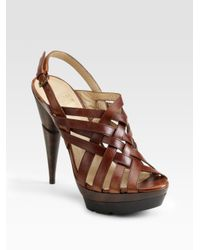 Stuart Weitzman - Brown Spray Crisscross Sandals - Lyst