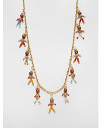 Tory Burch - Brown Beaded Doll Necklace - Lyst
