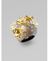 Alexis Bittar - Gray Swarovski Crystal Accented Floral Lucite Ring - Lyst